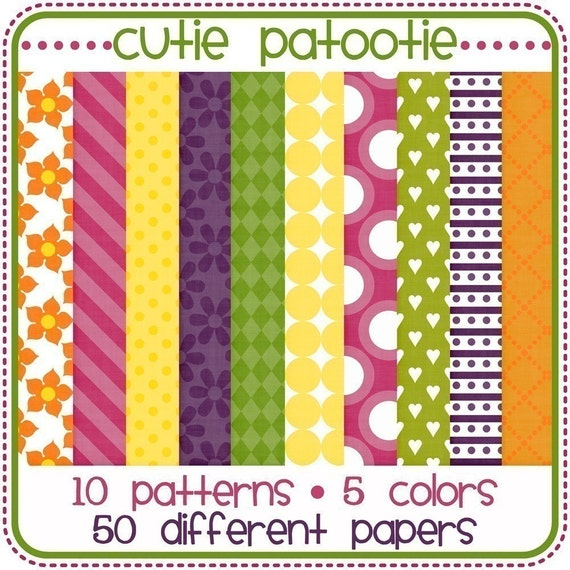 LARGE digital scrapbook paper pack...50 PAPERS..cutie patootie collection