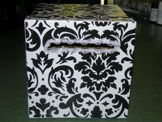 Black And White Damask Favor Boxes : Black and white damask wedding card box by djones on etsy