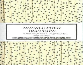 Handmade Bias Tape Almost Black Polka Dots on Ivory