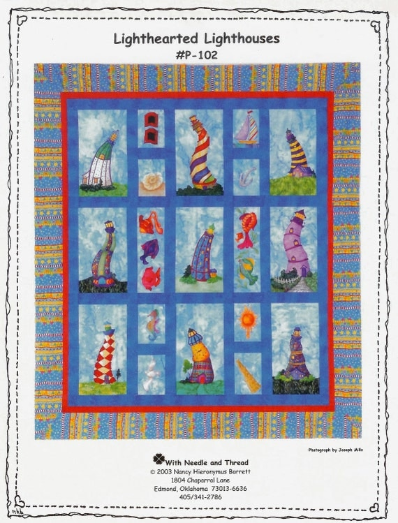 Lighthearted Lighthouses Applique Quilt Pattern
