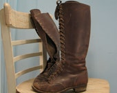 Farm Girl Boots- Tall Laced Leather
