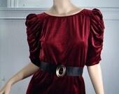Red Velvet Kitten Dress- 1940's Inspired (1970's)