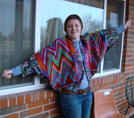 Guatamalan Rainbow Jacket- Extreme Batwing Sleeves- One Size Fits All