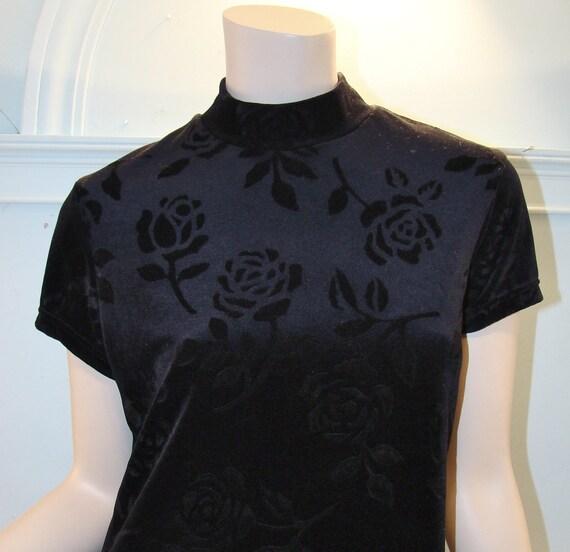Black Roses Minidress- Stretch Velvet, 1990's
