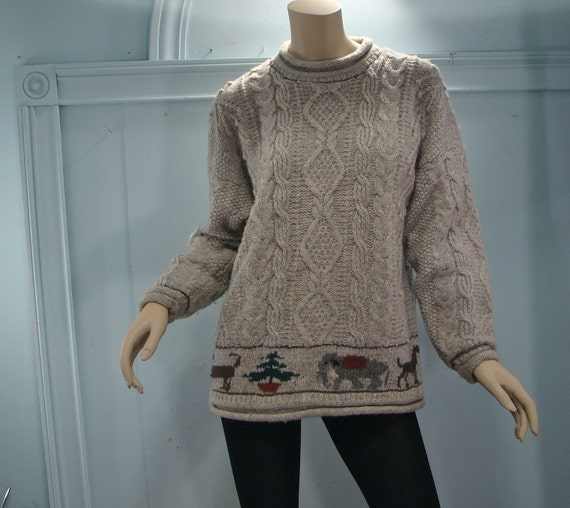 Gray Cable Sweater- Pom-Poms & Animals- 1980's