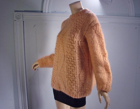 SALE Peach Cable Knit Sweater- 1960's Fuzzy Beatnik Pullover- Chevron Zig Zag- Wool