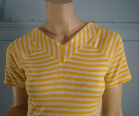 Sunshine Stripes T-Shirt- Yellow & White- 1970's