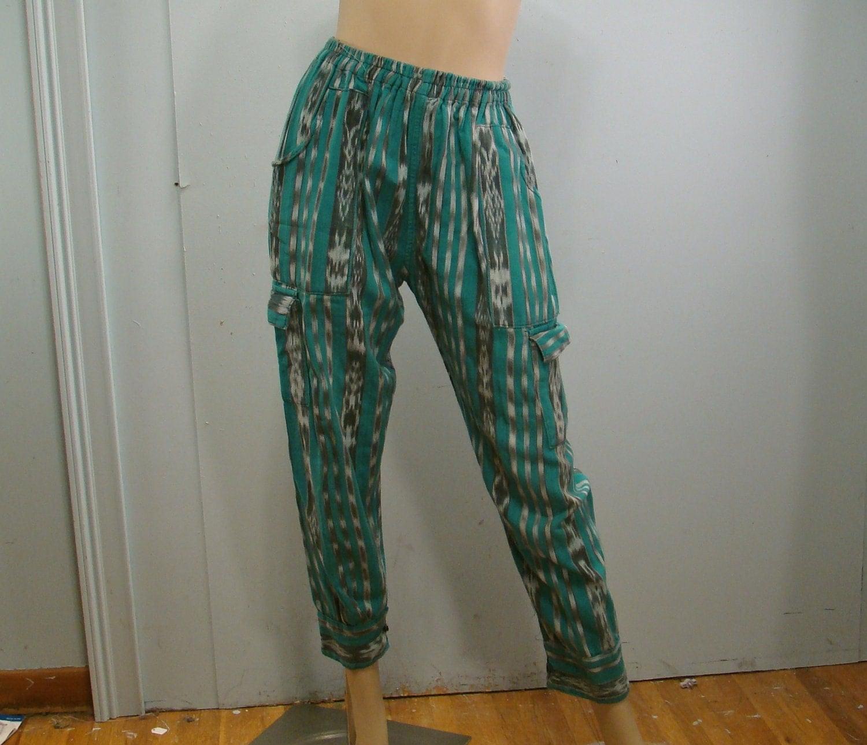 Guatemalan Harem Pants Jade Green Stripes By Reluctantdamsel
