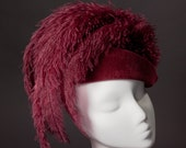 50% OFF SALE - Ladies Fascinator Cocktail Hat in Red Wine
