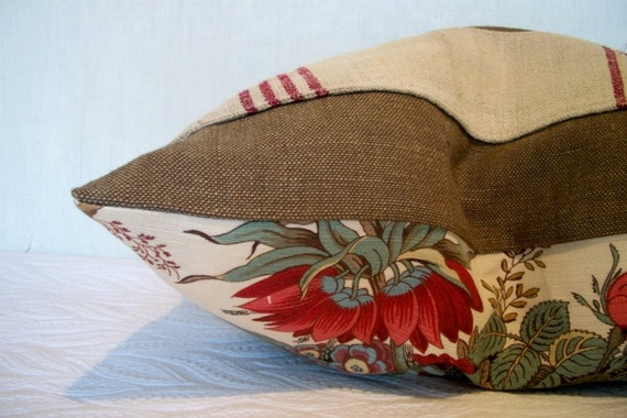 Cottage Floral Accent Pillow Cover Earthy