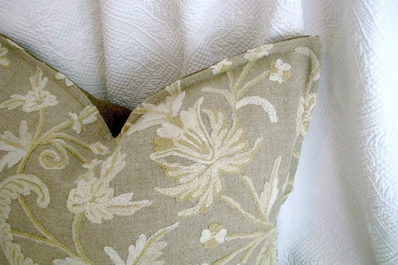 Rustic Cottage Wool and Hemp CREWEL Pillow Cover