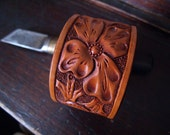 Tooled California Poppy Floral Leather Cuff - Small