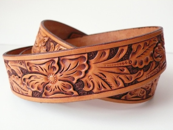 Tooled western wild rose floral leather belt custom