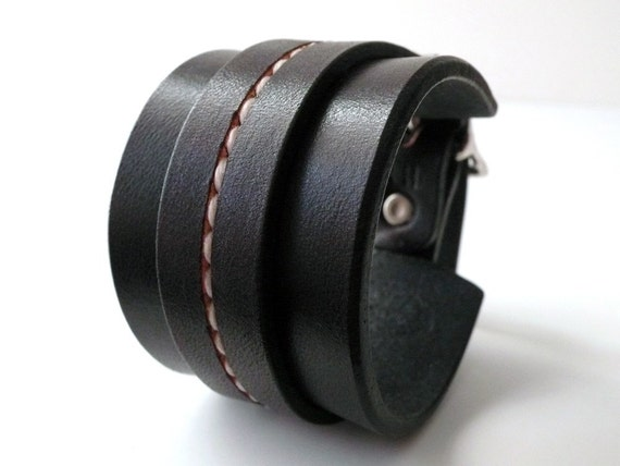 One Strap Saddle Stitch Cuff - Custom Browns