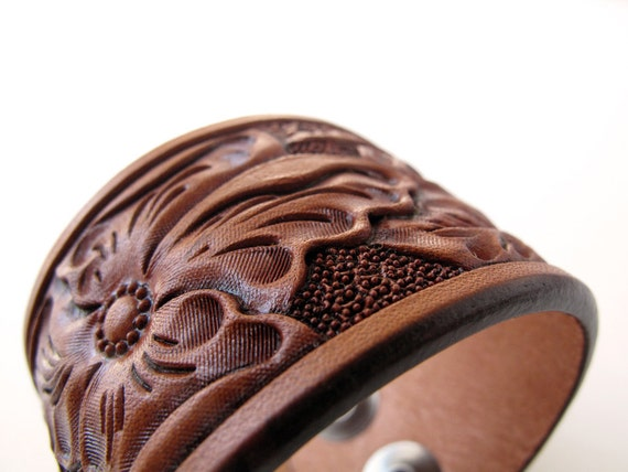 Russet Wild Rose Floral Leather Cuff- Small