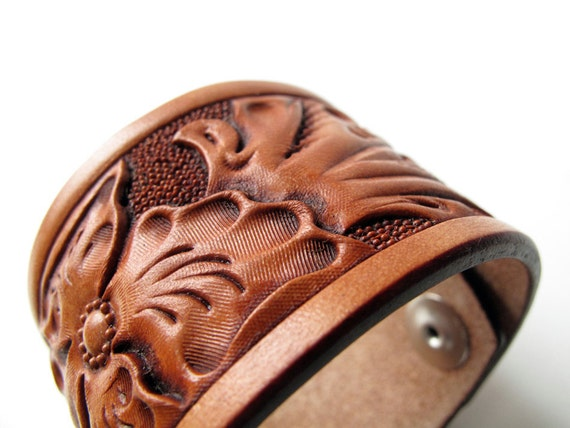 Tooled Wild Rose Floral Leather Cuff- Small