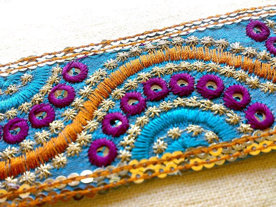 Zig Zag Roads - Indian Blue Silk Saree Trim with  Gold Purple Blue Embroidery and Seuins 3 Scrap Pack Remnant