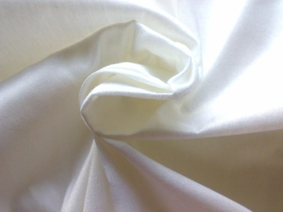 Silk Fabric Dupioni Cream White Half Yard