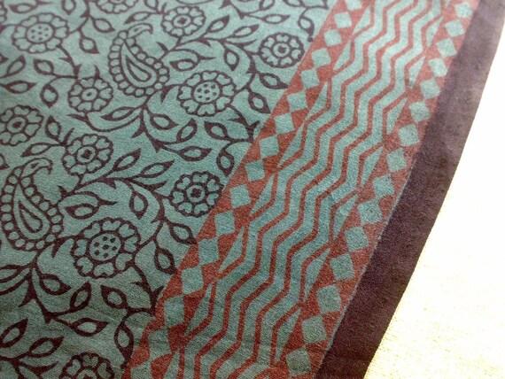Indian Cotton Saree Fabric Gray Black Brown Print Block Vegetable Dyes