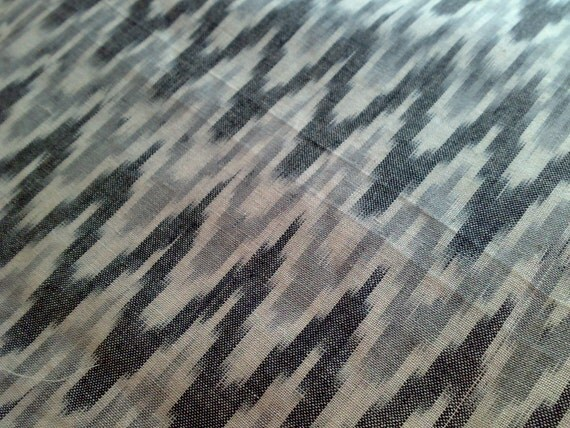 Fabric Cotton Ikat Gray Indian Handloom Remnant