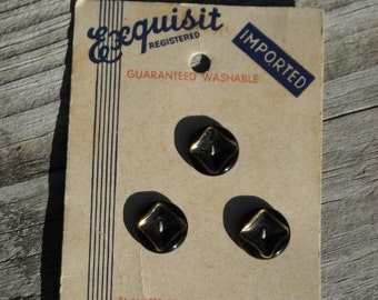 Antique '20s-'30s black glass buttons NEW on original card