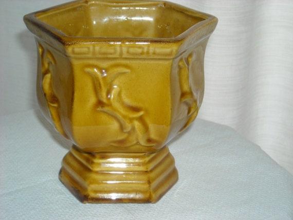 Vintage amber ceramic planter with pedestal