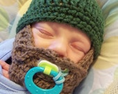 Dark Green Baby Beard Beanie - 0 to 3mos, 3 to 6 mos, 6 to 12 Months, Toddler - Infant Sized - Made to Order