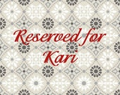 RESERVED - Custom printed fabric for Kari - block printed by hand.