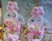 Vintage French Lace and Rosebud Crystal Earrings