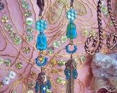Luminous Azure AB Green Tassel Earrings