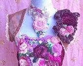 Chocolate & Claret Velvet Rose Bolero Jacket - Size Small