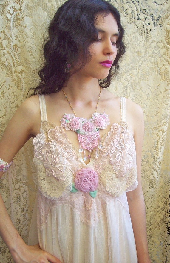 Ethereal Enchantment - Antique and Vintage Lace Dress -  Size Small