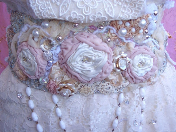 Items similar to victorian pearls couture rose embroidered