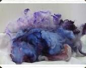 Vintage Lilacs, hand dyed Romney locks, spin, felt