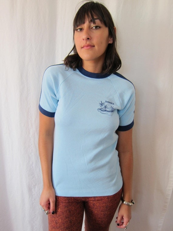 Vintage Jamaica  Ringer Tshirt size Small Baby Blue Navy Ringer Good Condition