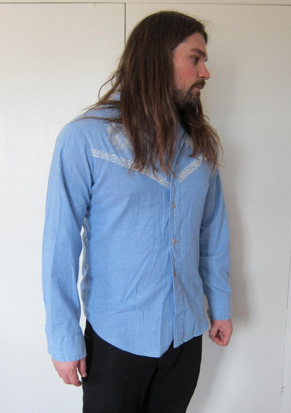 Vintage western button up work wear shirt blue by for Blue button up work shirt