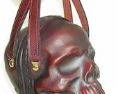 Leather Skull Purse Clutch in OxBlood