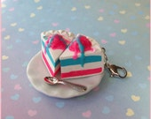 Polymer Clay Cotton Candy Carnival Pie Charm-A La Mode. Carnival Themed Party Favor - DecadentMini