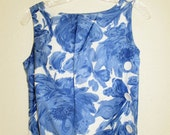 60s vintage Blue Roses of Summer Perfection Fit by Roxanne Medium