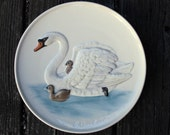 Vintage Swan Plate Wall Hanger, pair of Swans, Goebel West Germany 1982 numbered collectors plate