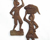 Folk Art Carved Wood Couple Fish Basket on Heads
