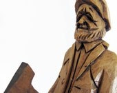 Fortin Wood Carving Vintage Joli Quebec Craggy Old Man with Ax