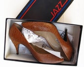 80s Vintage Shoes Jazz pumps 8.5 M, Animal Print Leather Pumps