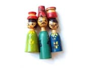 Cast of Characters .. vintage wood people from Egypt .. set of four