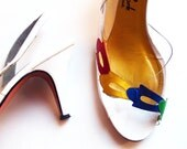 Primary Colorful Clear Vinyl and Leather Pumps sz 10