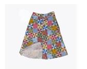 70s Patchwork Quilt Skirt  27 28 29 elastic waist