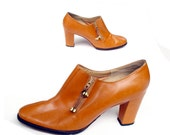 60s Go-Go Chunky Heel Shoe Boot Frank More Caramel Leather 7.5 N womans