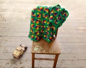 Lambswool Afghan Felted Wool Rainbow Green Granny Square