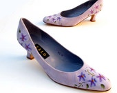 Vintage Pumps Lavender Purple suede leather Hand Painted ZALO 9 1/2 M