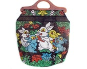 Vintage Purse Allover Beaded Bunny Rabbits Large Roomy